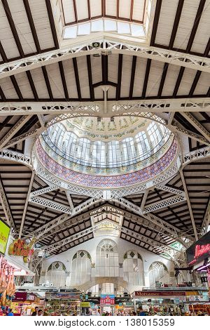 Valencia -june 24: Central Market On June 24 2016 In Valencia, Spain. This Great Modernist Building