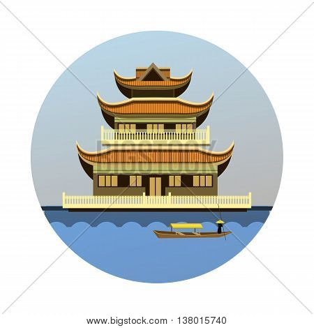 vector illustration round emblem of the Buddhist temple on the river bank