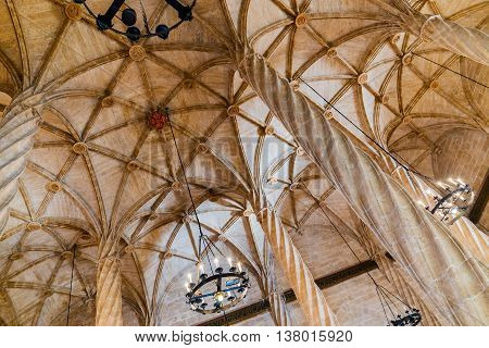 Valencia -june 24: Ceiling View Of The Silk Exchange On June 24 2016 In Valencia, Spain. The Silk Ex