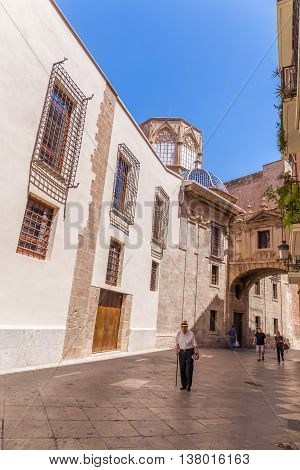 Valencia -june 24: Old Town Near The Cathedral Of Valencia, On June 24 2016 In Valencia, Spain.  Val