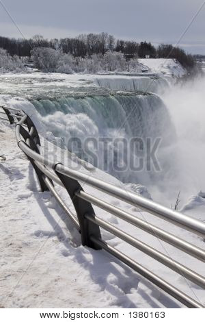 Niagara Falls Footpath In Winter Time.