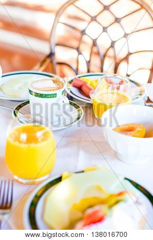 Healthy breakfast on the table close up in restaraunt resort