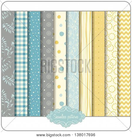 Vector seamless patterns. Can be used for wallpaper and textile design, pattern fills, website backgrounds, surface textures and book design.