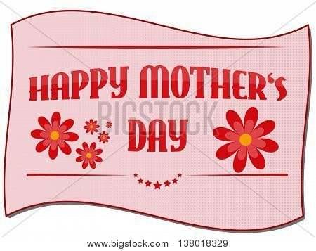 Fully vector Happy mother's day card with flowers and with halftone effect
