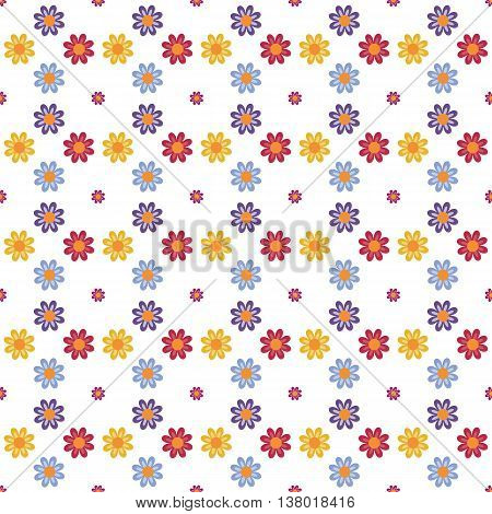 Fully vector seamless pattern with flowers (blooms)