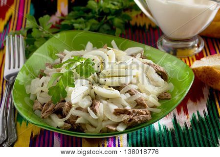 Fresh Salad With Beef, Green Radish, Onion And Eggs - Tashkent. The Traditional Dish Of Uzbek Cuisin