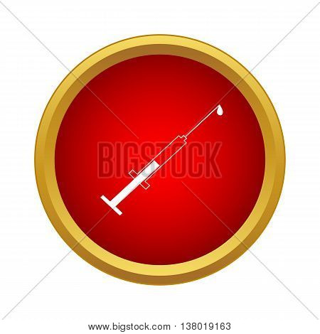 Syringe with injection icon in simple style in red circle. Medicine symbol