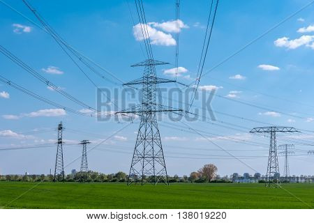 Power supply lines seen in rural Germany