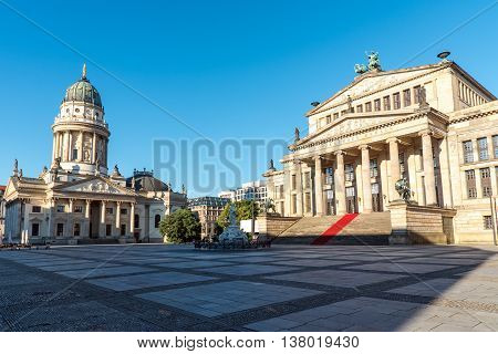 The Gendarmenmarkt in Berlin in the early morning sun