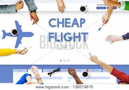 Cheap Flight Offer Traveling Website Concept