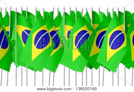 Many Small Brazilian Flags In Row Isolated Seamless