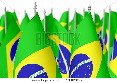 Many Small Brazilian Flags, Selective Focus