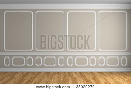 Beige Wall In Classic Style Empty Room