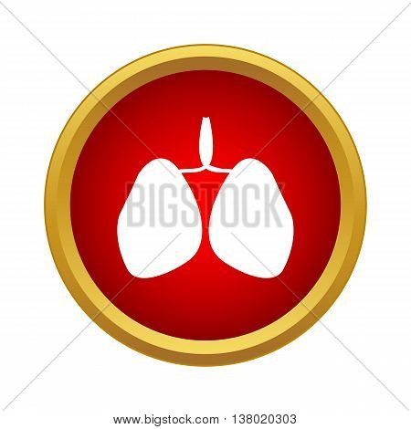 Human lungs icon in simple style in red circle. Organs symbol