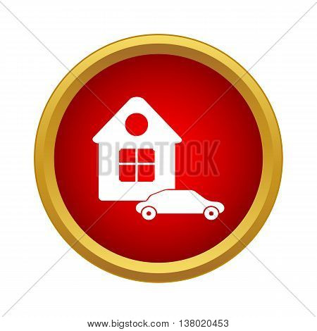 House and car icon in simple style in red circle. Immovables symbol