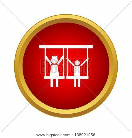 Children ride on swing icon in simple style in red circle. Entertainment symbol