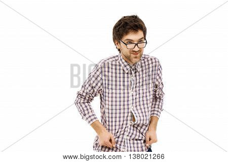 Crazy and funny cheerful handsome young man in plaid shirt and glasses with messy hair. Isolated on white background.
