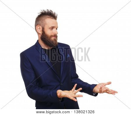 Young bearded man isolated at white background. Side view portrait of guy with beard disappointed, frustrated, annoyed.