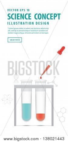 Banner Chemical Test Tube With Dropper On White Background Vector. Education And Science And Medical