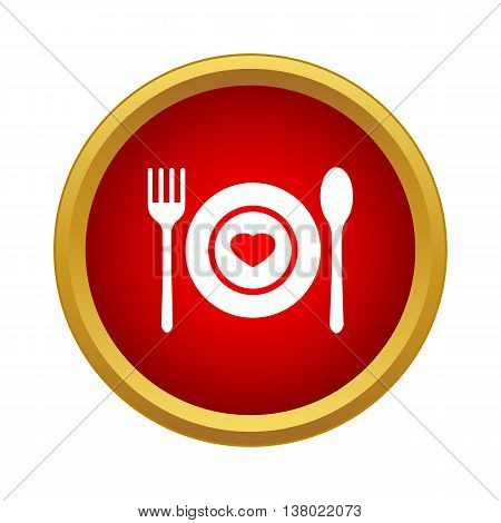 Dishes for lovers icon in simple style in red circle. Gifts symbol