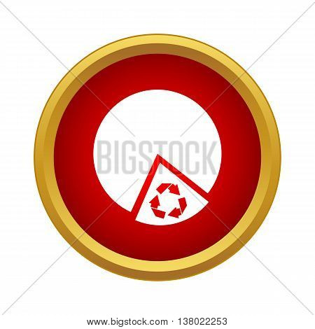 Recyclable product icon in simple style in red circle. Eco symbol