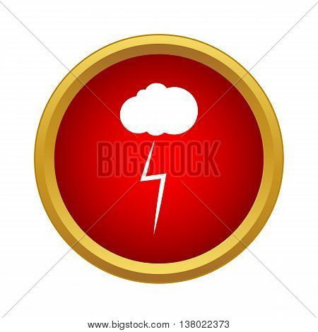 Cloud and storm icon in simple style in red circle. Weather symbol