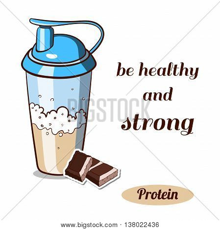 Sport nutrition. Protein shaker isolated on white background. Chocolate protein powder. Vector illustration.
