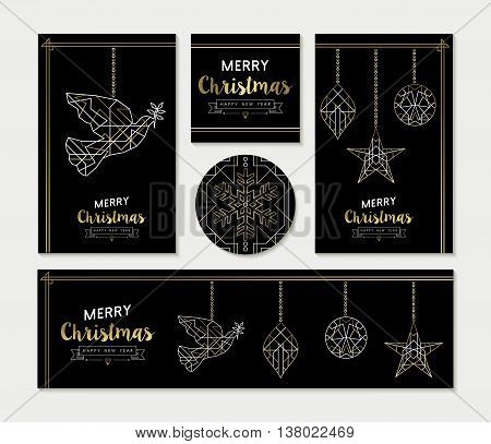 Gold Christmas Greeting Card Template Set