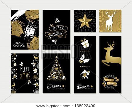 Christmas And New Year Gold Card Template Set