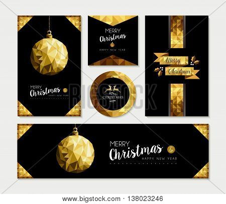 Gold Christmas Card Template Set Of Holiday Design