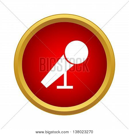Microphone for karaoke icon in simple style in red circle. Music symbol