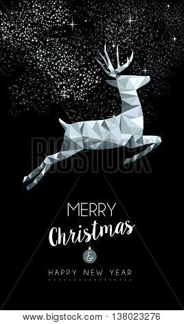 Christmas Silver Deer In Low Poly Greeting Card