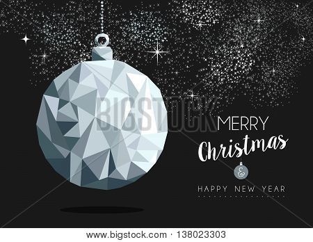 Christmas Silver Bauble Ornament Greeting Card