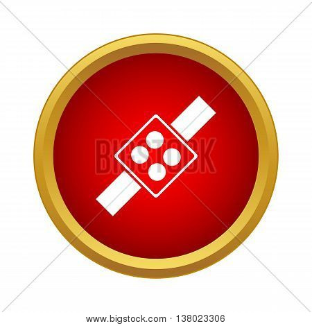 Button synthesizer icon in simple style in red circle. Control symbol