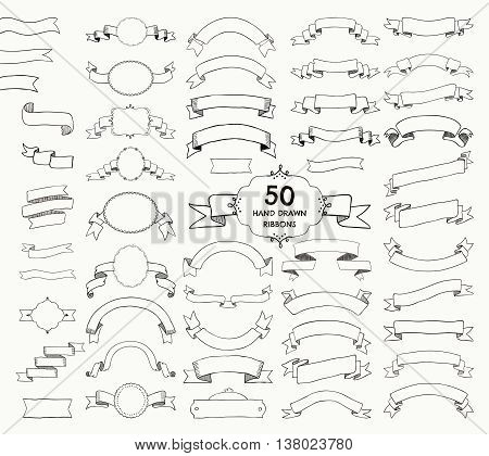 Big Set of 50 Hand Drawn Black Doodle Sketched Rustic Decorative Banners and Ribbons, Frames with Ribbons. Vintage Outlined Vector Illustration.