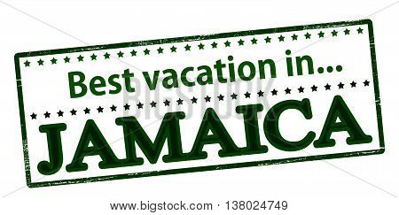 Rubber stamp with text best vacation in Jamaica inside vector illustration