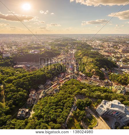 Kiev City skyline aerial view. Cityscape of capital of Ukraine. View of the Exaltation quarter.