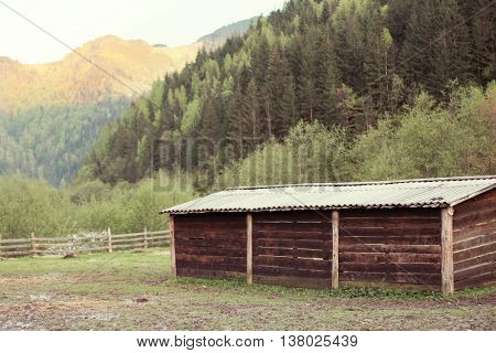 Wooden shed in in the yard
