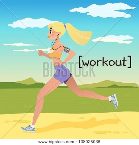 Blonde young woman jogging in the Countryside. Running girl in cartoon style. Vector illustration isolated on white background. Design for motivational poster, article about fitness.