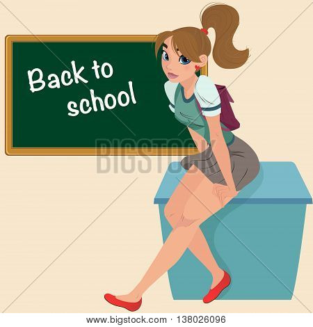 Cartoon young student teenager on desk. Cute teenage girl student. Banner Back to school - cute girl at the board ready to learn.