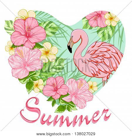 Pink tropical flowers and flamingo. Summer background with floral heart.
