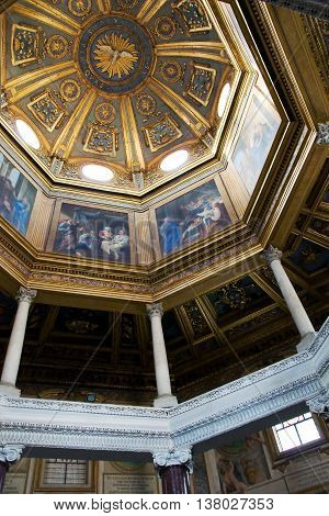 ROME, ITALY- MAY 09, 2012: Painted dome with biblical story in the Basilica di San Giovanni in Laterano