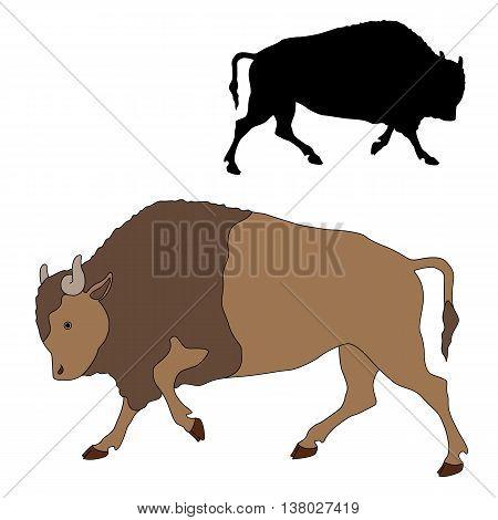 bison black color silhouette vector illustration set