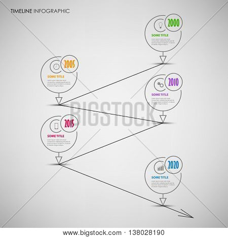 Time line info graphic with 5 thin line rounds pointers vector eps 10
