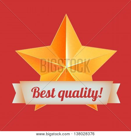 Realistic 3D gold star. Award winner. Good job. The best reward. bulk copper star. Simple star, Best quality. The award for the best choice. Premium class. Golden 3d star with ribbon.
