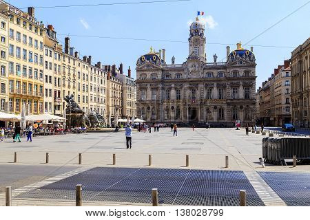 LYON, FRANCE - MAY 24, 2015: This is the Lyon Town Hall at Place des Terreaux.