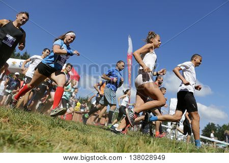 Mass Marathon Runners In The Mountain