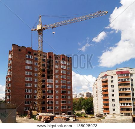 The process of construction of multi apartment building (new building Ukraine).