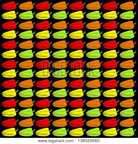 Bulgarian pepper. Pattern and background of colorful peppers on a black background
