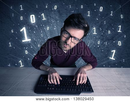 A funny hacker working hard on online passcode scanning and solving passwords with 0 1 numbers illustration in background concept